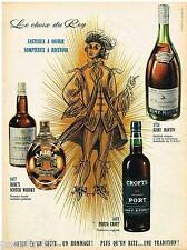 PUBLICITE ADVERTISING 105  1958   les  COGNAC PORTO WHISKY par CHEVALME