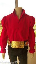 ELVIS (New MATTE RED Puffy Sleeve Shirt) Tribute Artist Costume (Jumpsuit Era)