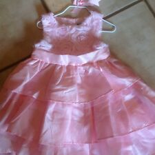 Mud Pie Girls Size 4T Pink  And Tulle Floral Top Dress With Sash NWT