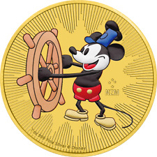 2017 Nieu 2$ Steamboat Willie Mickey Mouse Gold Gilded 1oz Silver Colored Coin
