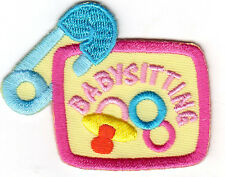 """BABY SITTING"" IRON ON EMBROIDERED PATCH/CHILDREN - BABIES - JOB"