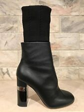 NIB Chanel 16K Black Kangaroo Leather CC High Heel Sock Ankle Boots 36.5 $1550