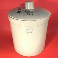 ROSEVILLE POTTERY CROCK WITH LID  BLUE CROWN STAMP 1 GALLON COOKIE JAR 11 1/2""