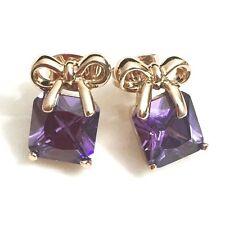Purple Amethyst Princess Stud Earrings Women Girls Gift Knot Wedding Jewelry E15