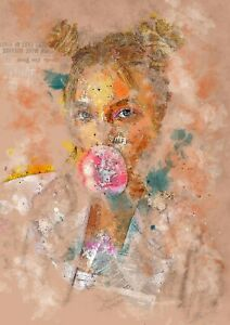 Girl blowing a gum bubble, abstract painting, artwork print, wall art gift