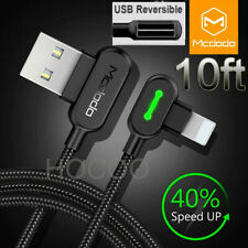 10ft Fast Charging Iphone Cable Lightning Charger L Reversible Usb Unbreakable