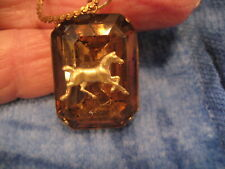 Vintage trotting Horse glass cabochon necklace