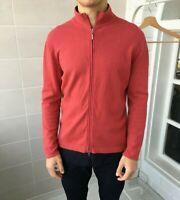 Men's Brunello Cucinelli Wool Cashmere Silk Pink Zip Sweater Sz - S-M