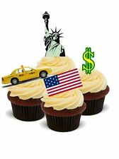 AROUND THE WORLD NEW YORK! 12 STANDUP Edible Image Cake Toppers fun holiday city
