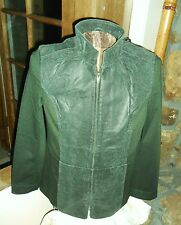 LADY'S GENUINE LEATHER  BASIC JACKET IN OLIVE GREEN - SIZE  LRG