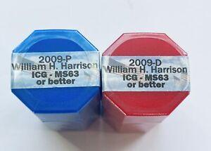 2009 P&D Set of William Harrison Presidential Dollar Sealed Rolls of 20 ICG MS63