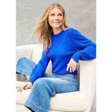 GOOP G. Label Meredith puff sleeve cashmere sweater in cobalt blue S