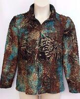 Coldwater Creek Crinkle Jacket Size 12 Coat Full Zip No Lining Brown Teal Women