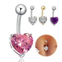 Beauty Crystal Heart Belly Button Ring Dangle Body Navel Bar Jewelry Piercing