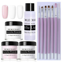 11Pcs/Set NICOLE DIARY White Pink Clear Polymer Acrylic Powder Nail Art Brushes