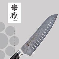 "Yaxell ""Yo-u"" 69-layer steel dimple Santoku kitchen knife 18cm F/S w/Tracking#"