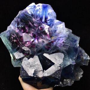 3220gLarger Particle Translucent Purple Phantom Window Blue CubicFluorite&Pyrite