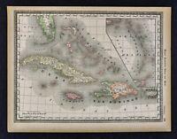 1891 McNally Map West Indies Cuba Jamaica Porto Rico Hayti Bahamas Florida Keys