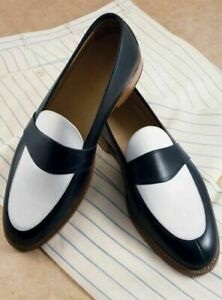 Mens Handmade Shoes Black & White Leather Slip On Formal Dress Casual Wear Boots