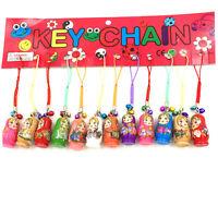 12X Charm Key Chains Hand Painted Wood Matryoshka Russian Dolls Gifts