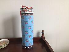 "Mary Engelbreit Wine Carrier Round Box Blue w/cherries 13"" Pooch & Sweetheart"