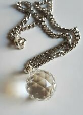 Handmade faceted crystal ball necklace steel chain