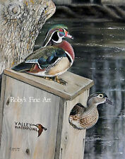 "Wood Duck Art Print ""Frank's Pair"" Woodduck Box 8""x10"" Giclee By Roby Baer PSA"