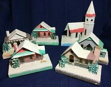 Vintage Putz House Village, Mica, Finely Detailed, Lot of 6 inc Church JAPAN