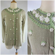 """Storybook Knits Cardigan Sweater Oatmeal Green Crochet """"Hanging Gardens"""" NWT"""