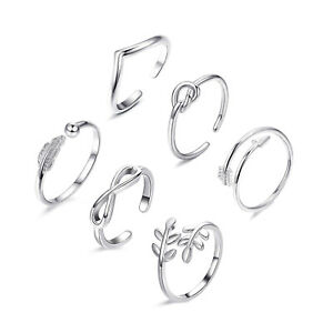 6PCs/set Sterling Silver Fashion Simple Toe Ring Adjustable Foot Beach Jewelry