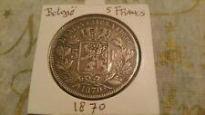 Belgium 1870 silver 5 Francs coin / Leopold II