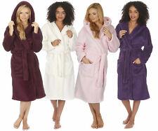 Ladies Women's Soft Snuggle Fleece Hooded Dressing Gown Robe Nightwear Plus Size