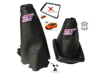 Gear Handbrake Gaiter For Ford Focus 04-08 Leather Purple Embroidery