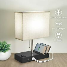 Bedside Lamp for Bedroom,3 Phone Stand Base Modern Table Lamp