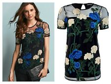 Kaleidoscope Size 16 Black Floral Embroidered Front Stretch Back TOP Xmas £55