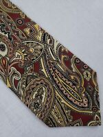 Vintage Polo by Ralph Lauren for Bergdorf Goodman Silk Paisley Tie Red Gold MINT