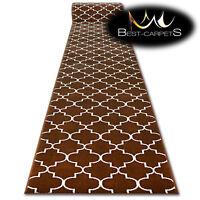 Modern Hall Carpet Runner BCF BASE brown TRELLIS Stairs 60-120cm extra long RUGS