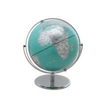 """10"""" 2 Tone Revolving World Globe Table Top Turquoise & Silver Modern Style New"""