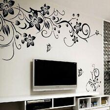 Wandtattoo Blumenranke Schwarz Wohnzimmer Schmetterling Dekor Ornament Gift