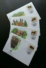Lithuania Wwf Bulls 1996 Cow Protected Mammals Fauna Wildlife (stamp Fdc)