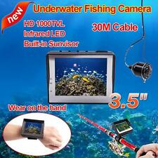 "30M 3.5"" Monitor Wearable Fish Finder 1000TVL Video Fishing Camera w/Sunvisor K8"
