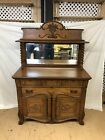 Antique+Victorian+Quatered+Oak+Carved+Mirror+Sideboard+Server+Buffet