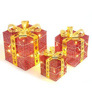 3Pcs Pre-Lit Festive Xmas Christmas Gift Parcel Box Decorations w/Yellow Bowknot