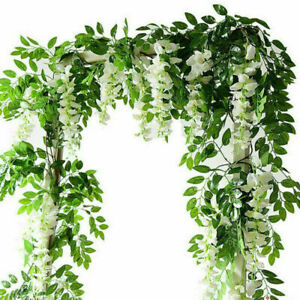 4X White Artificial Wisteria flowers vine fake flower ivy plant garland leaves Y