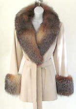 New Caruana 100% Cashmere Silver Fox Real Fur Collar Cuffs Cream Belted Coat12.R