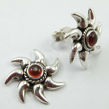 """925 Pure Silver Real RED FIRED CARNELIAN Sun Studs TRADITIONAL Earrings 0.7"""""""