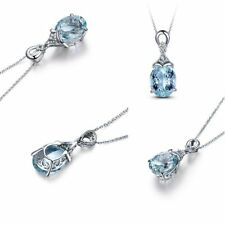 Wholesale GEMSTONE Silver Natural Chain Aquamarine Jewelry Pendant Necklace