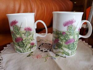 2 Dunoon Scotland Coffee Tea Mugs Thistle Design by Jane Fern Beautiful Flowers