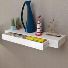 Floating Wall Display Shelf 1 Drawer Book DVD Storage White 48 Cm Home Office UK