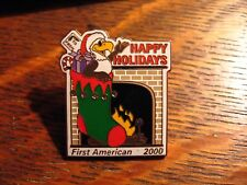 First American Title Lapel Pin - Vintage 2000 Christmas Happy Holidays Bank Pin